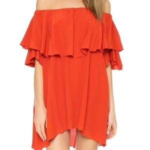 MLM LABEL Red Maison Off Shoulder Dress, Medium